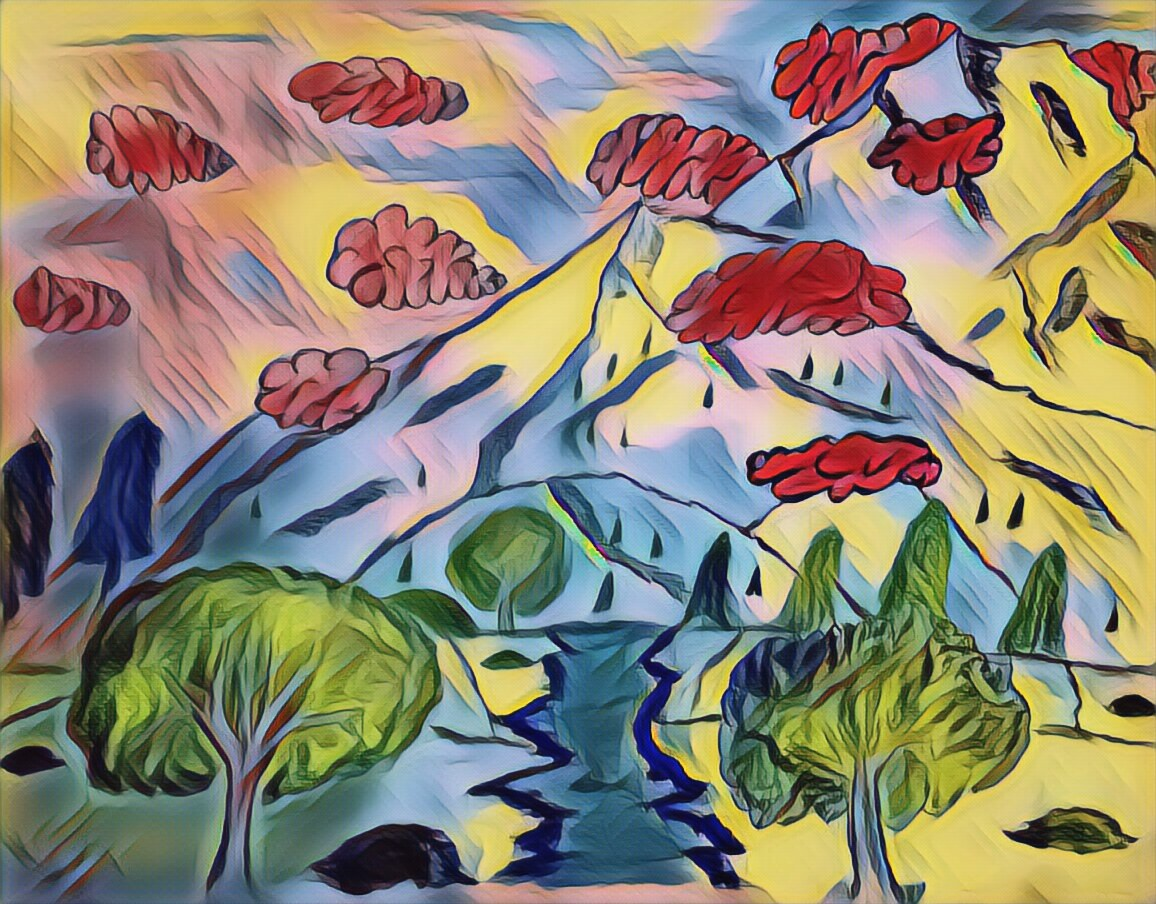 painting, clouds, water, stream, river, trees, mountains, sky, hills, grass, art, artist, artistic