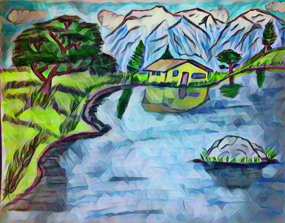 pencil sketch, painting, apple tree, snow, mountain, hills, house, water, reflection, art, artistic, artist, sky, clouds, pine trees, rock, grass