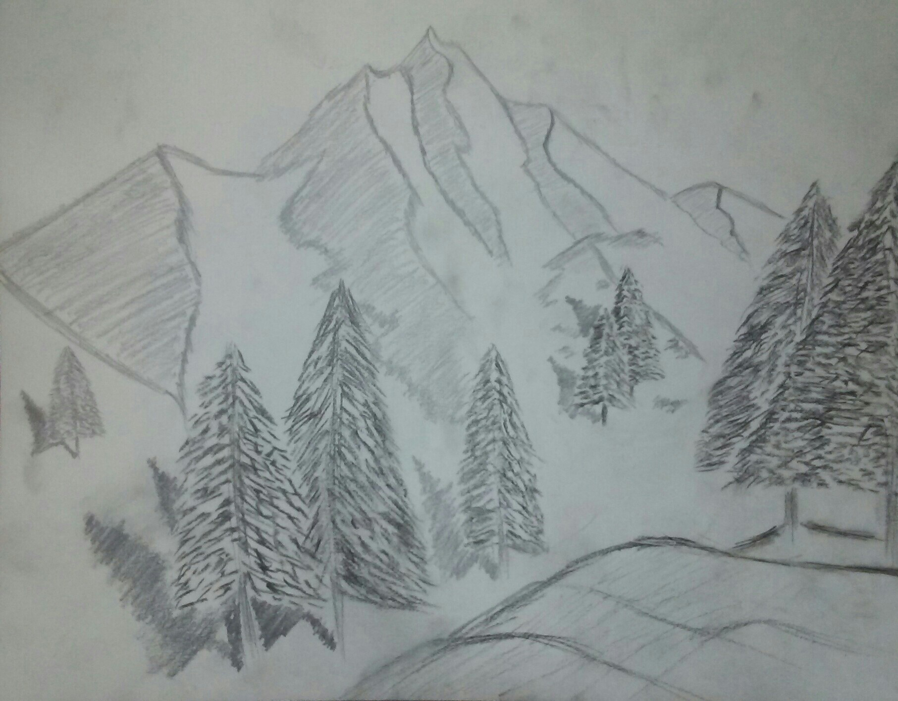 snow, sketch, mountain, hills, pine trees, shadows, black and white, pencil sketch,