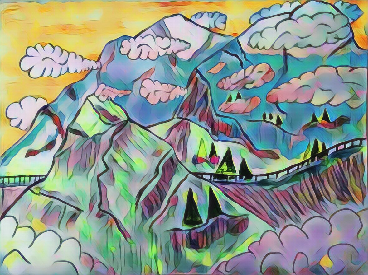 painting, drawing, art, artistic, clouds, mountain, crass, road, mountain side, sky, color