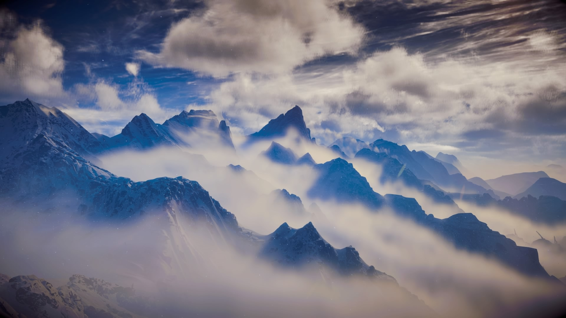 photography, mountains, sky, clouds, fog, mist, peaks, light, bright, photograph, picture
