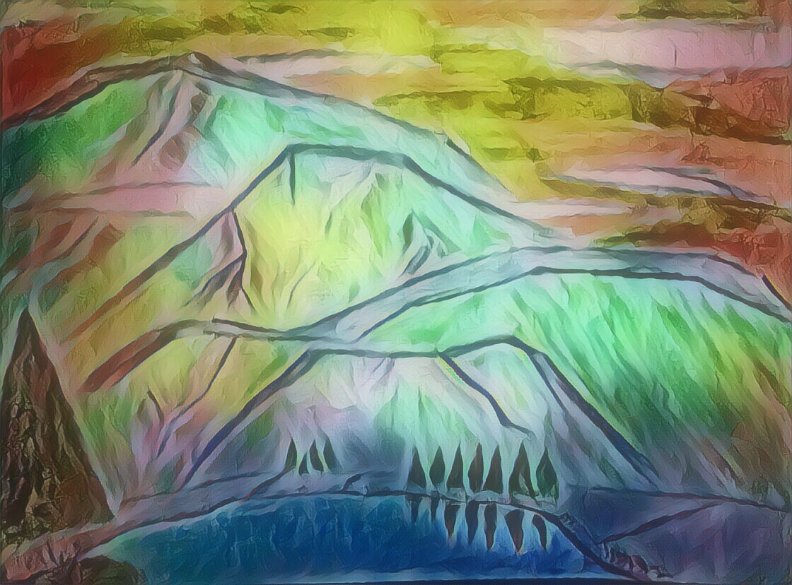 painting, mountain, colorful, nature, sky, psychedelic, rainbow, surreal, visionary art