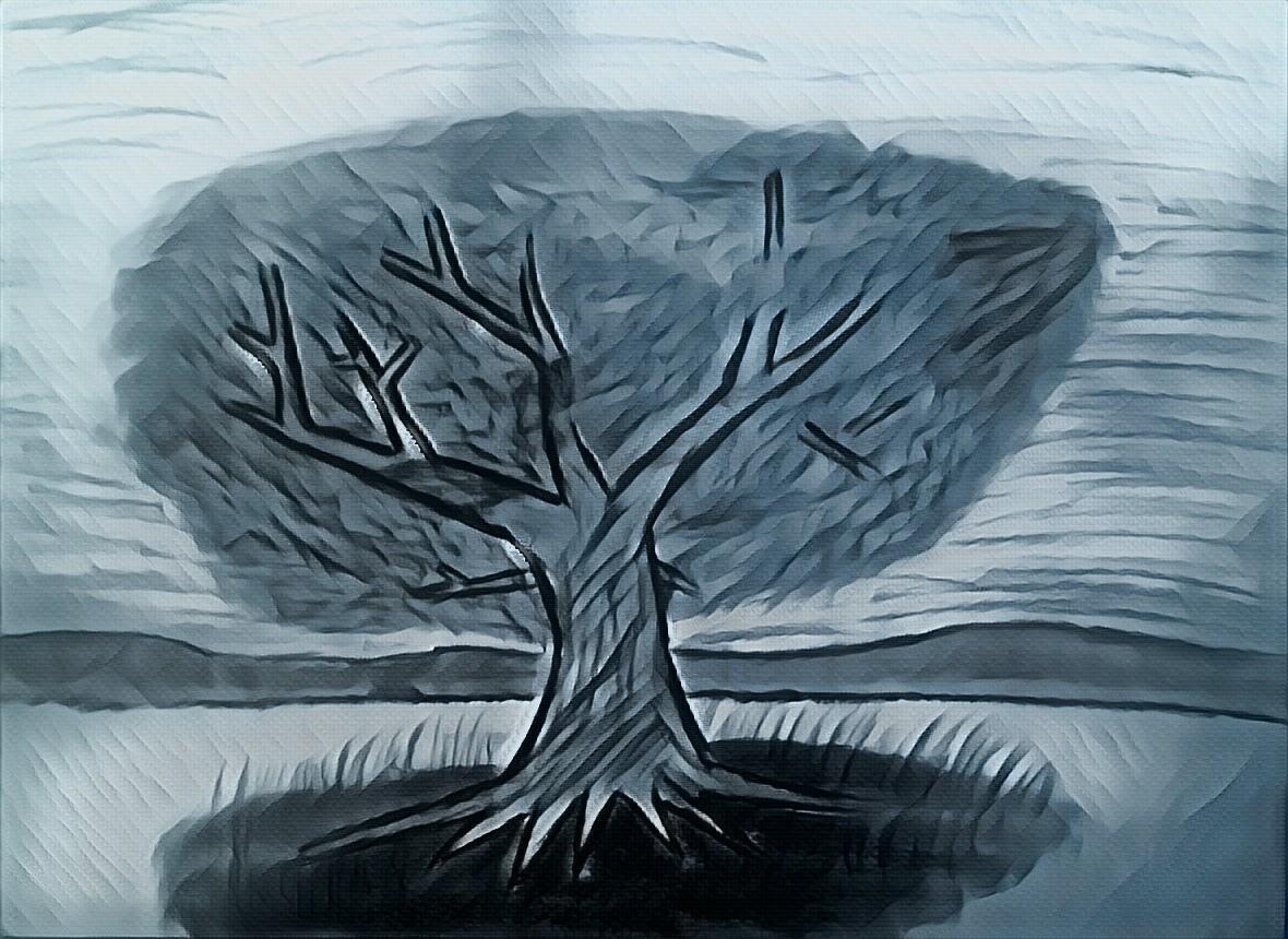 tree sketch, dark, black, black and white, pencil sketch, evil, nature