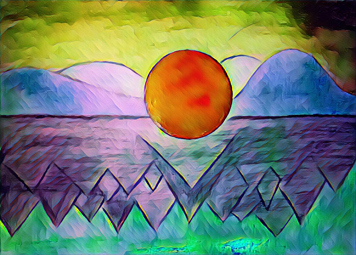 painting, sun, water, mountains, sky, bright