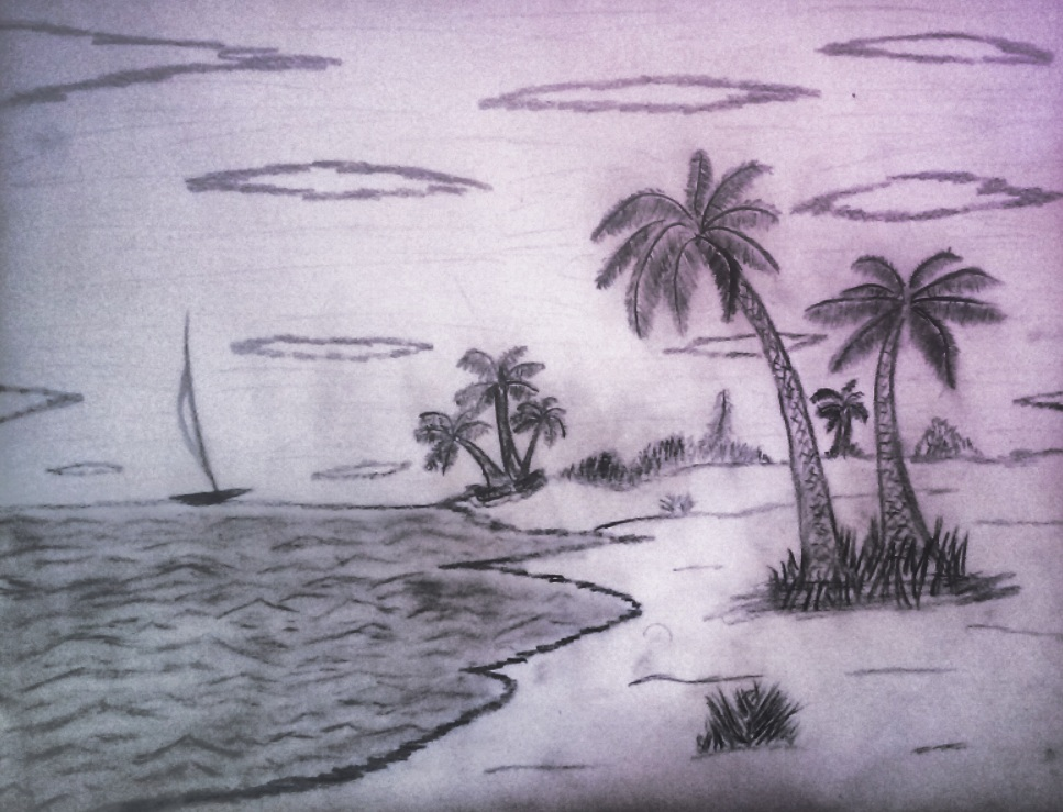 pencil sketch, palm trees, beach, water, clouds, boat, ocean, plants, nature