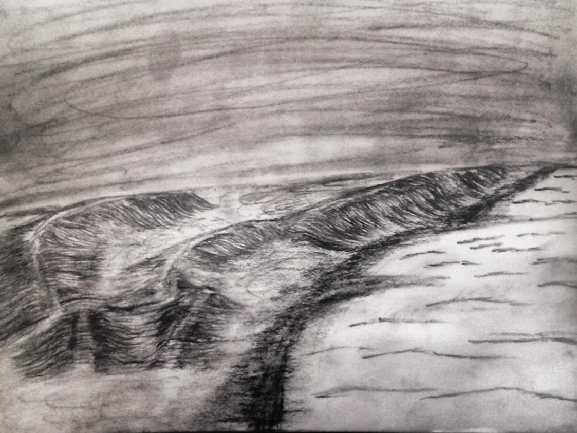 waves, water, pencil skatch, nature sketch, black and white, beach, ocean, sand, art, sky