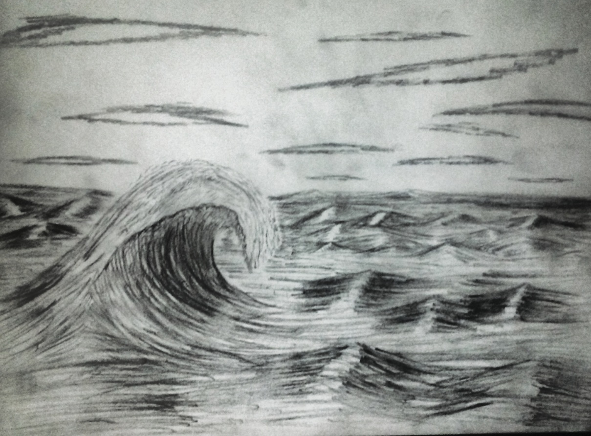 nature, sketch, sky, waves, water, ocean, clouds, sky, pencil sketch, black and white