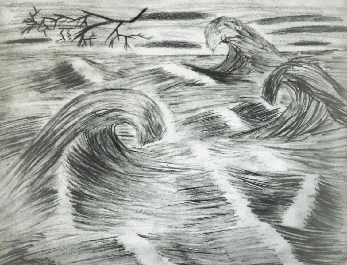 waves, water, black and white, pencil sketch, dark, lightning, waves, clouds, art, artist