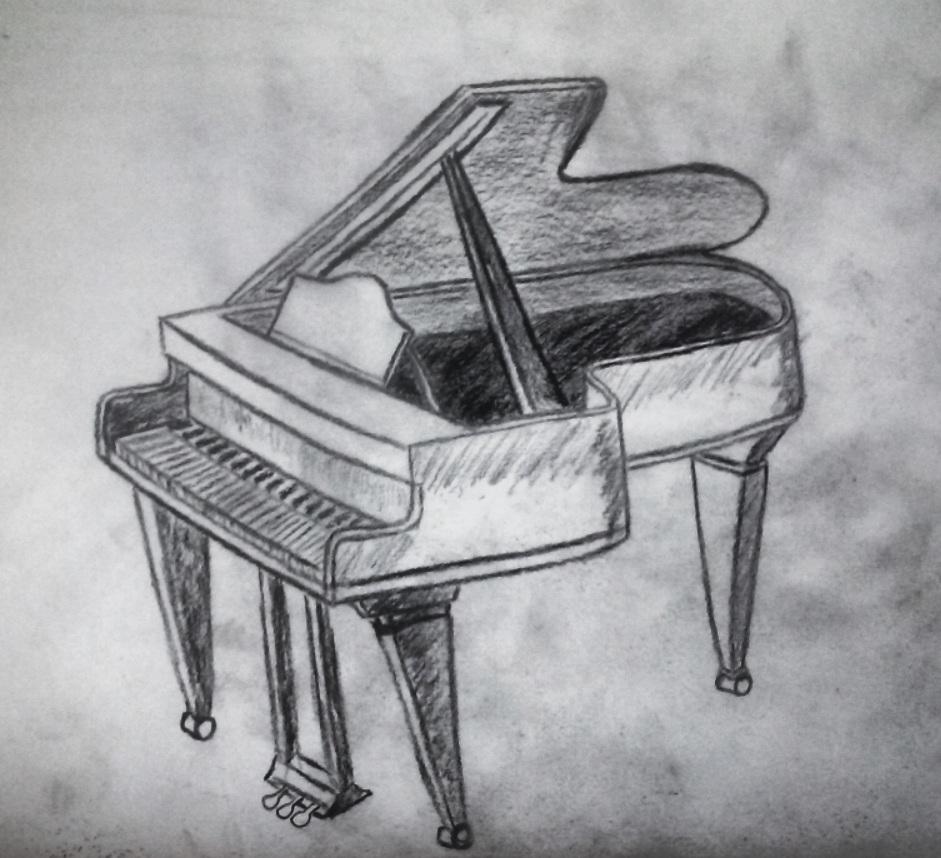 piano, sketch, black and white, pencil, create, dark, real, art