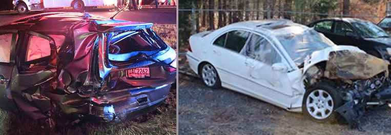 The photo on the left shows the Plaintiff's vehicle. The photo on the right shows the damage to the vehicle that caused the accident. Photo Credit: http://money.cnn.com/2016/04/26/technology/snapchat-speed-filter/?iid=EL