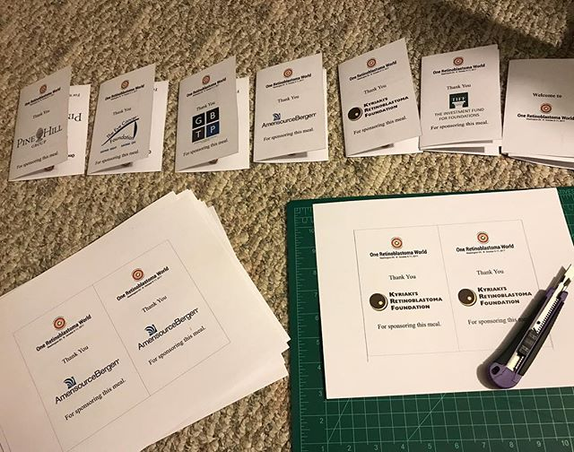 Printing and trimming the table signs for the #OneRbWorld2017 conference in recognition of our amazing and generous sponsors... Why oh why did I forget my straight edge at home?