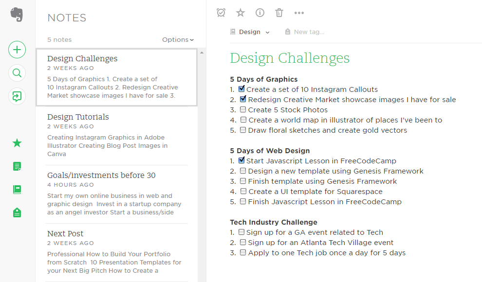 Snapshot of my Evernote list of challenges