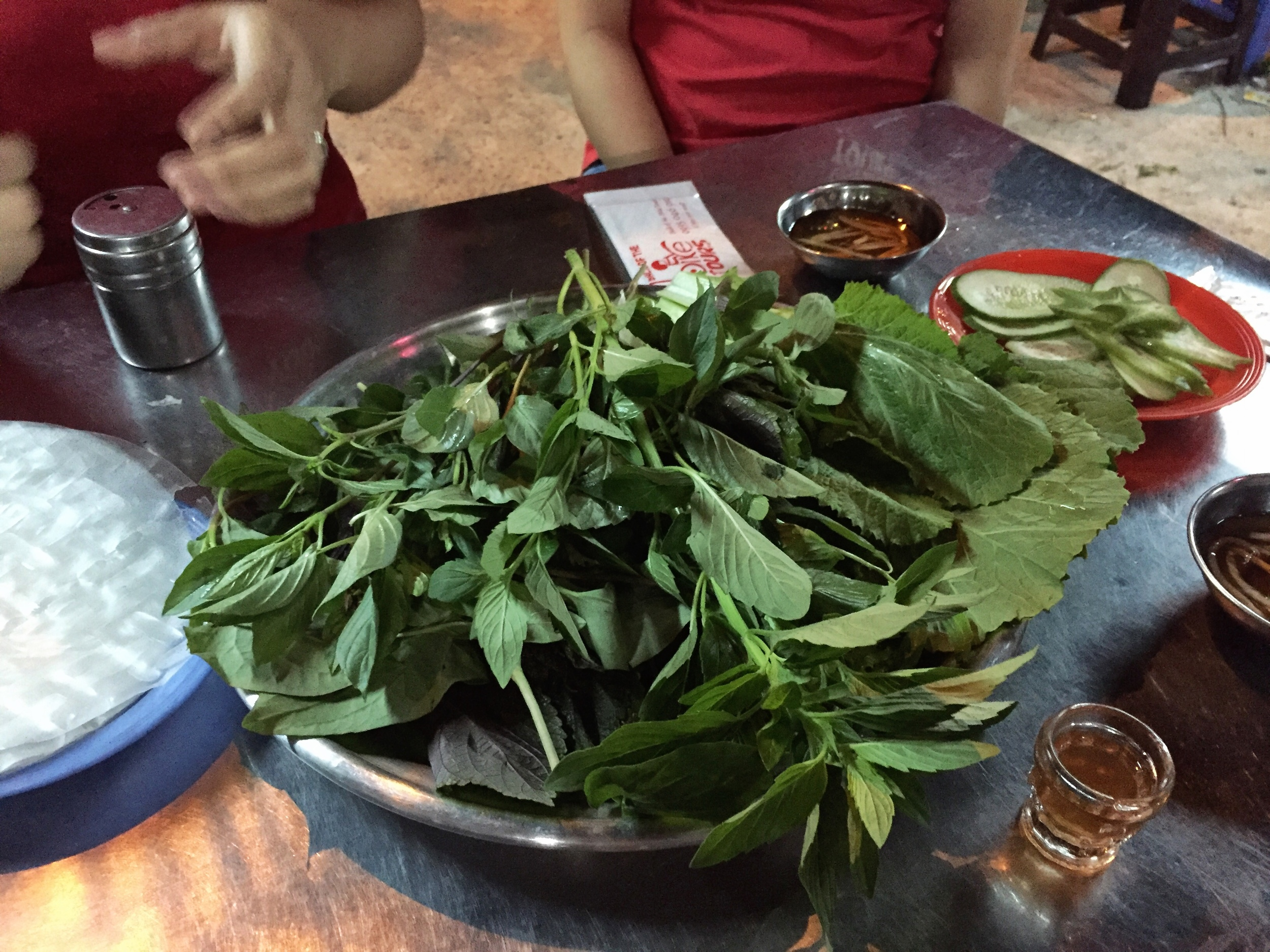 How can you ignore that giant plate of fresh herbs??