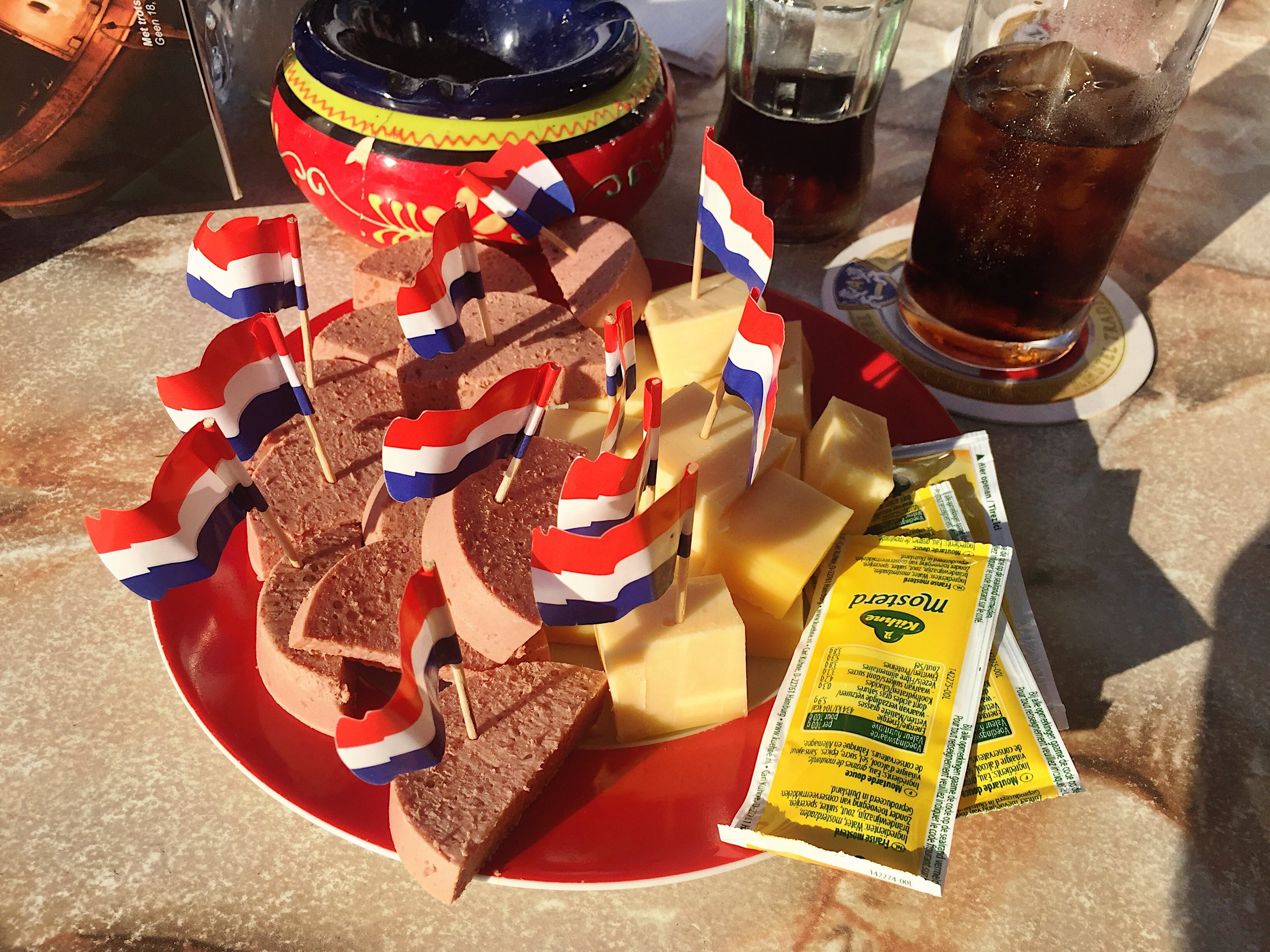 Liverwurst and cheese and mustard and the Dutch flag x 12