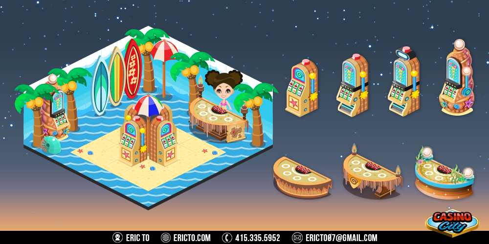 Beach theme - Gambling tables, slots, and decor