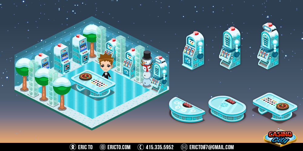 Snow theme - Gambling tables, slots, and decor