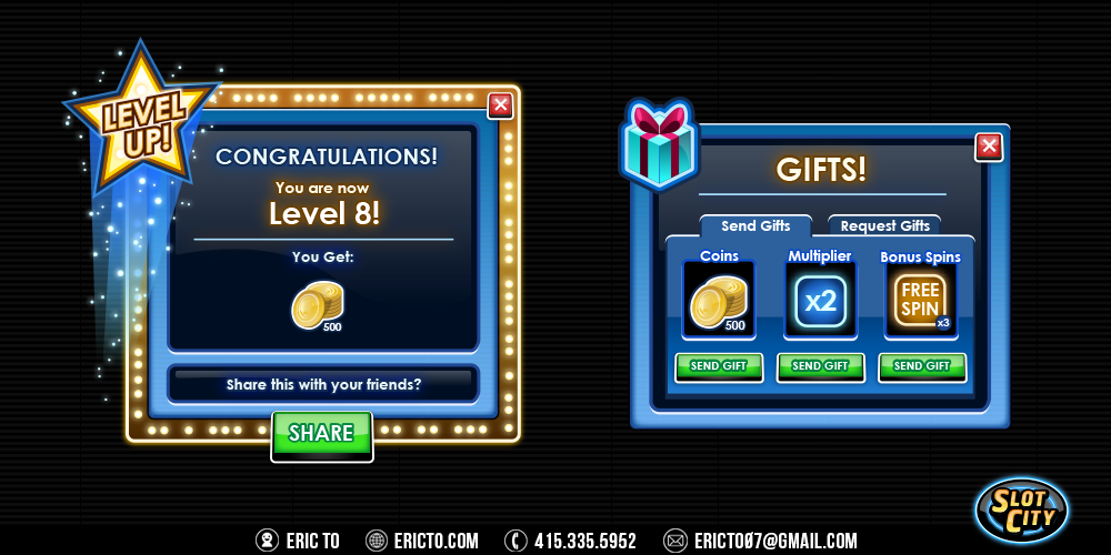 Level up and send a gift popups.