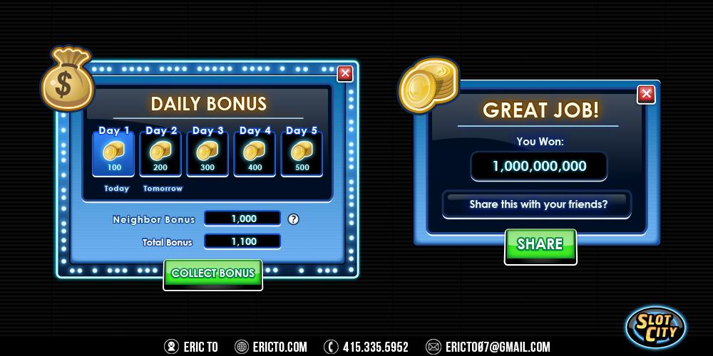 Daily bonus and winning popups.