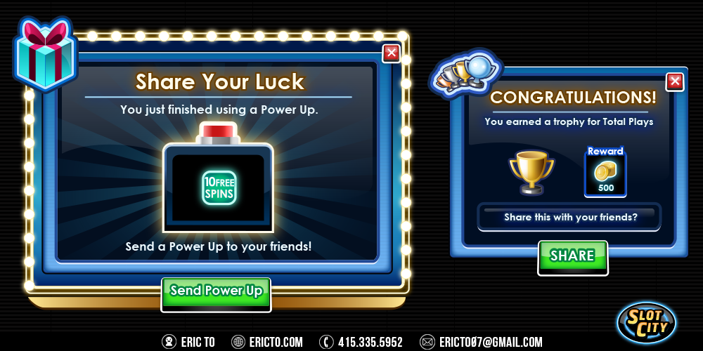 Popups for using a power up and earning a new trophy.