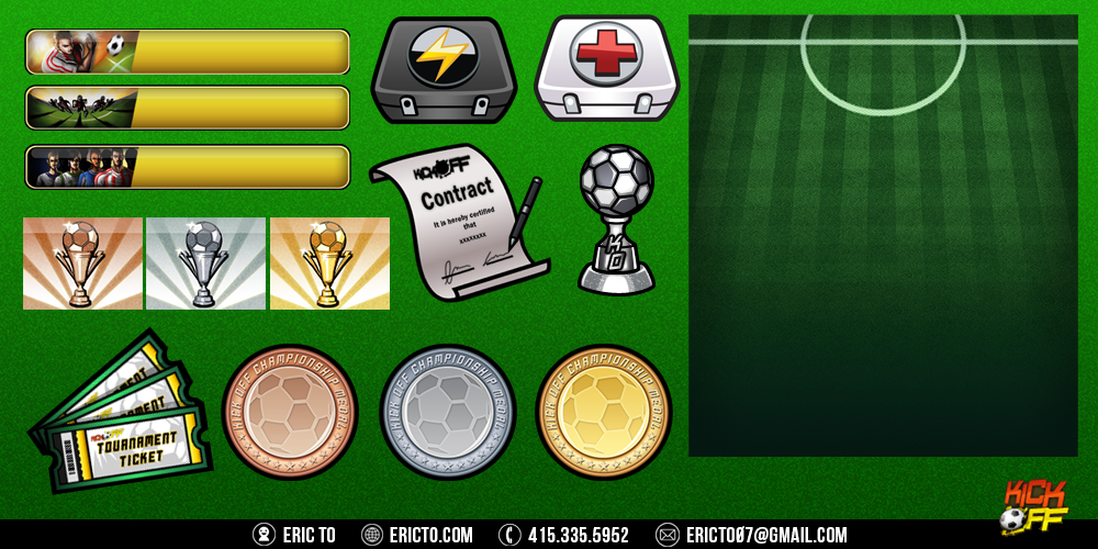 UI assets: Buttons, tickets, tokens, med kits, contract, trophy, and grass background.