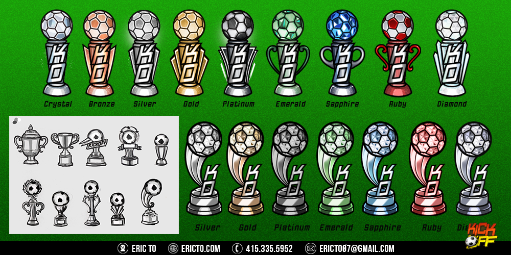 Sketches and final renders for trophies.