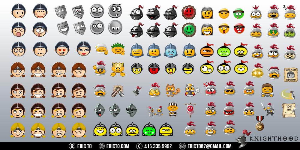 Emoticon designs for the message board.