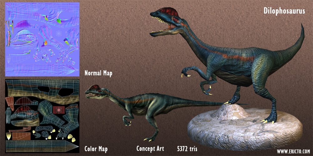 3D render of a Dilophosaurus.