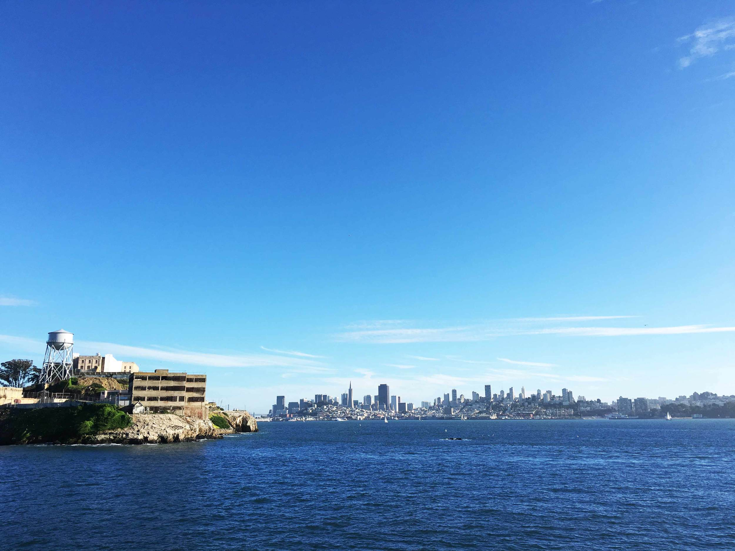 The back side of Alcatraz Island with SF in the background