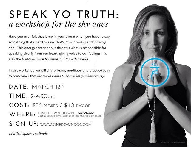 I've been working on this for.... 31 years now 🤐 speaking up for myself, speaking from my heart, speaking my truth🙋🏽 I'm very, very excited to share this work with you on Saturday March 12th from 2-4:30pm @onedowndog space is limited, sign up soon! #yogalove #shypeople #speakyotruth #vishuddha #onedowndog 📷 @saritphoto