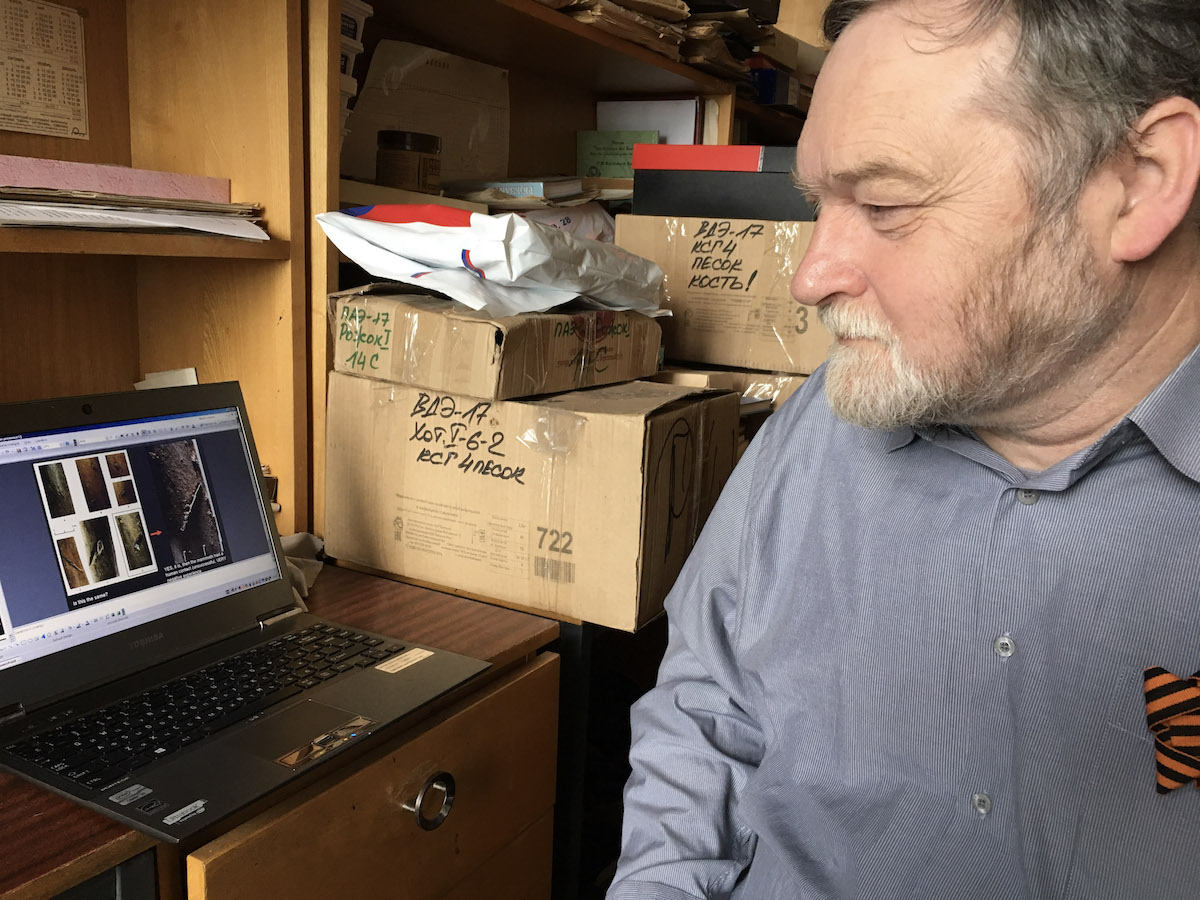 Vladimir Pitulko working in his office