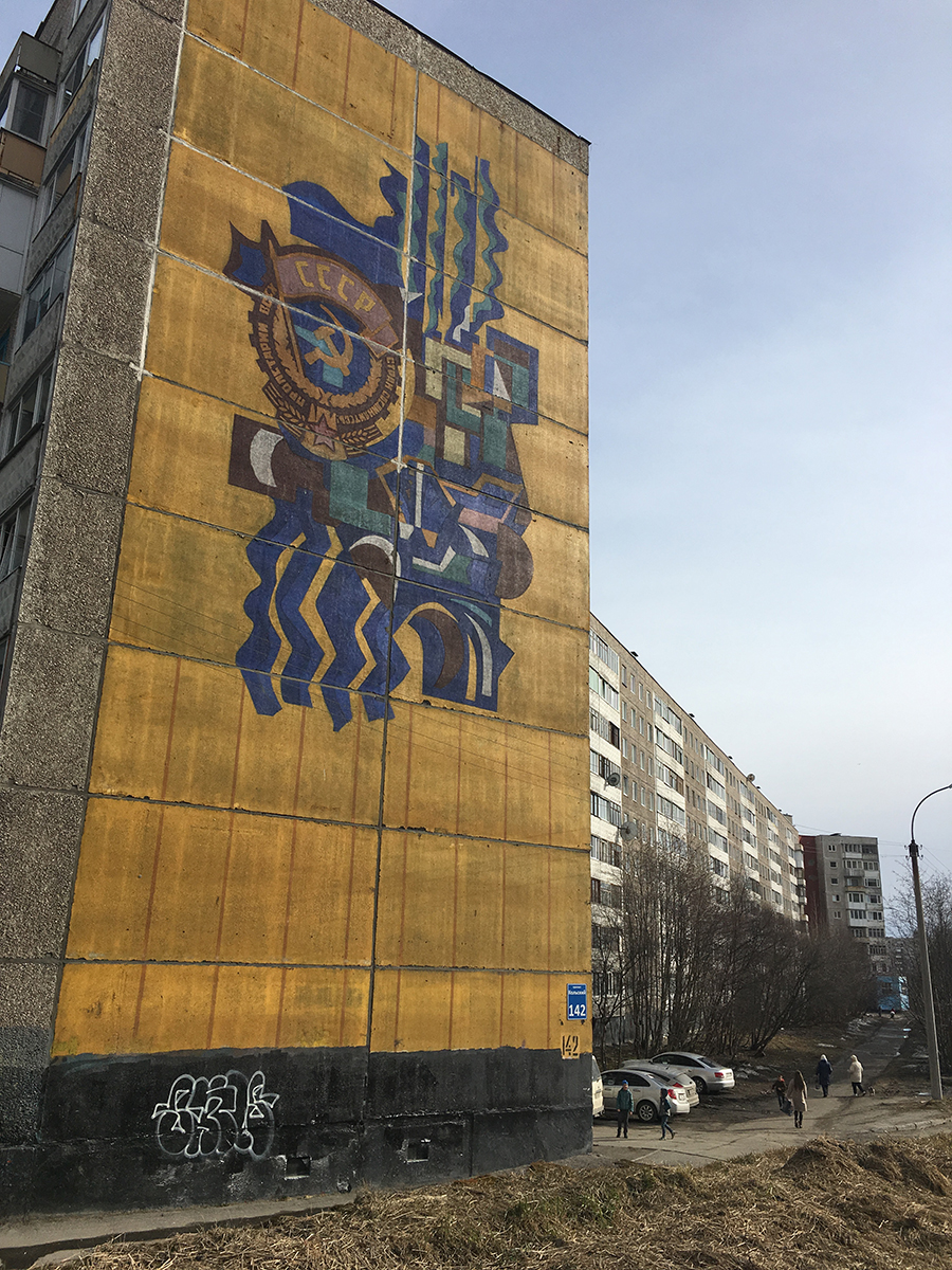 Mural painted on Soviet-era apartment blocks