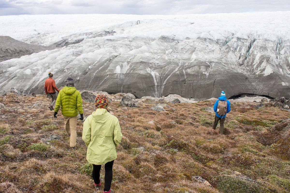 The science team went to the edge of the Greenland ice sheet the day before flying out to the field site.