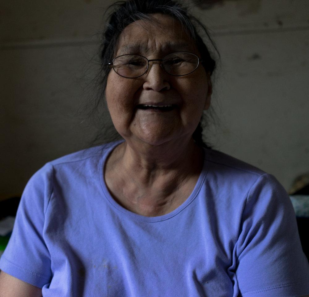 Nora Kuzuguk, 70, recounts stories from her childhood.