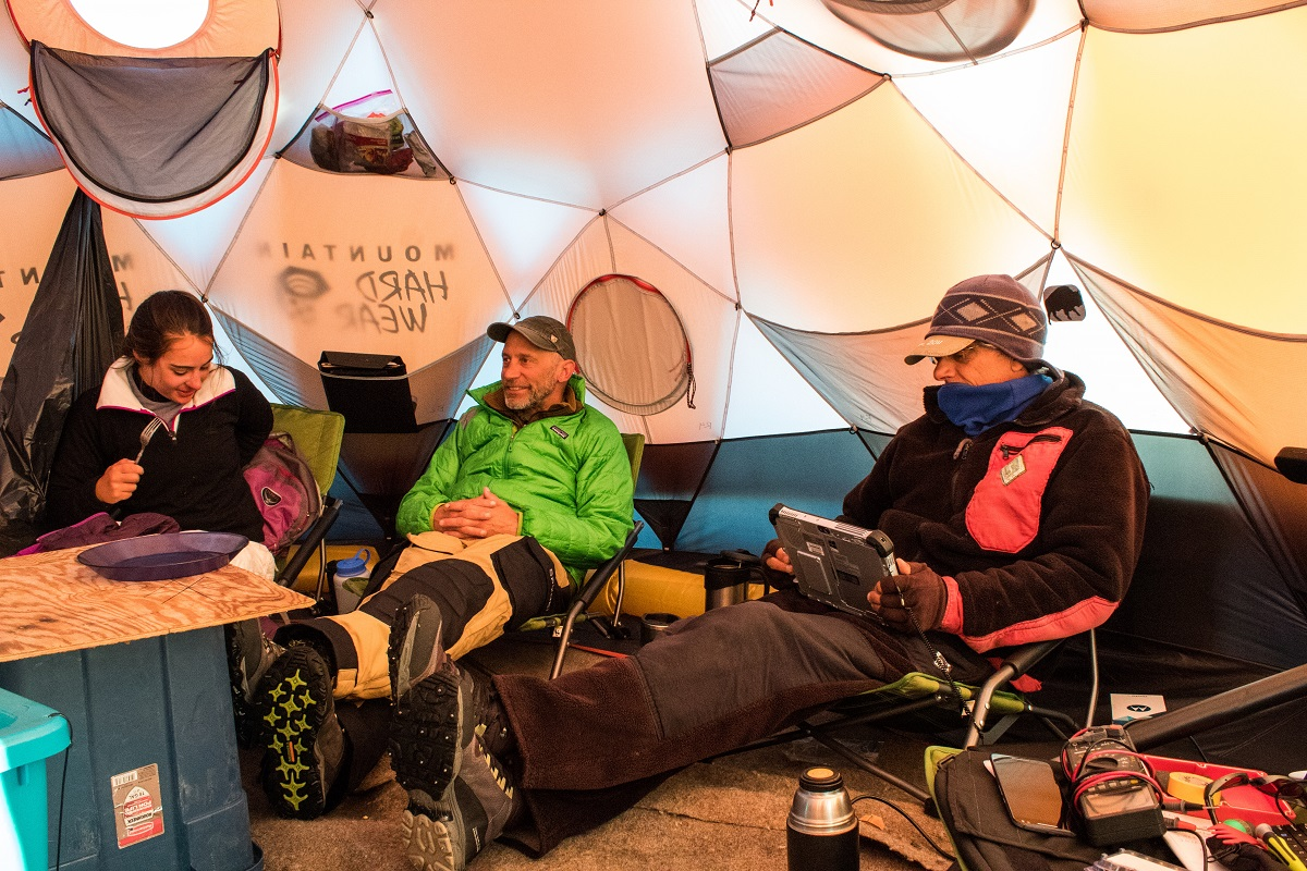 The crew gathered for meals in a tent on the ice.