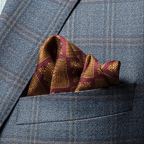 Maroon and Gold Luxury Woven Silk Pocket Square - Franco Uomo