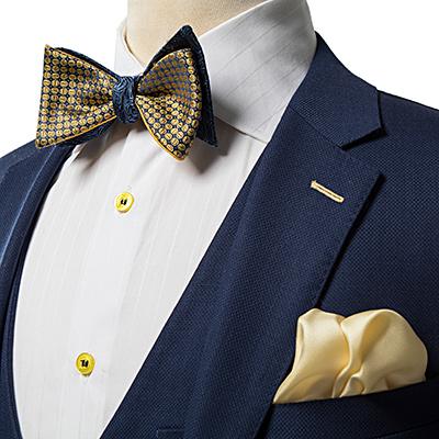 Gold and Navy Pattern Luxury Silk Self-Tie Bow Tie - Franco Uomo