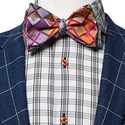 Orange and Lavender Checkered Silk Self-Tie Bow Tie - Fran