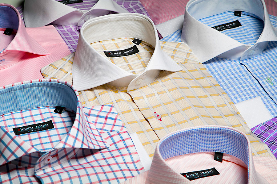 Franco Uomo Custom Tailored Italian Shirts come in many colors and prints, with and without french cuffs, and with custom button hole colors.