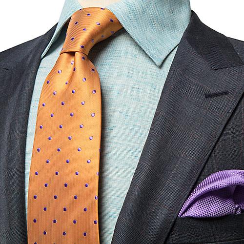 Luxury Silk Orange Polka Dot Necktie - Franco Uomo