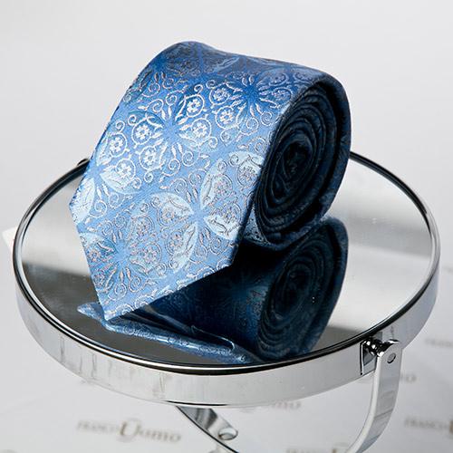 Luxury Woven Silk Blue Necktie - Franco Uomo