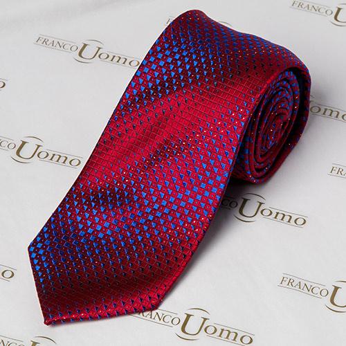 Luxury Woven Silk Red and Purple Pattern Necktie - Franco Uomo