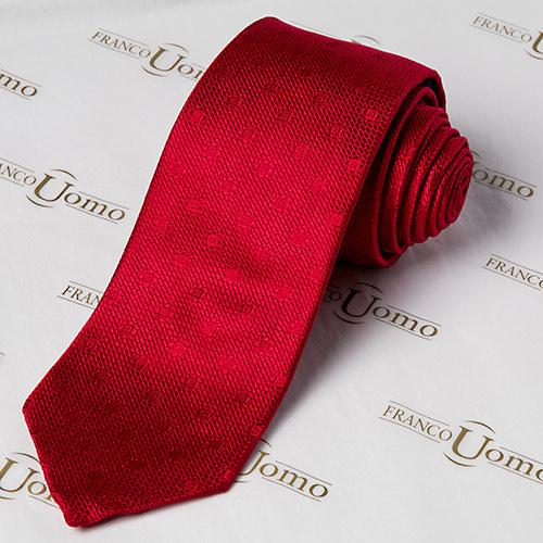 Luxury Woven Silk Red Necktie - Franco Uomo