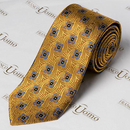 Luxury Silk Gold Woven Pattern Necktie - Franco Uomo
