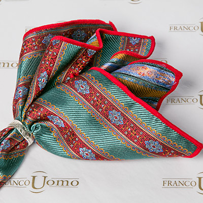 Luxury Woven Silk Red and Green Woven Pattern Pocket Square - Franco Uomo