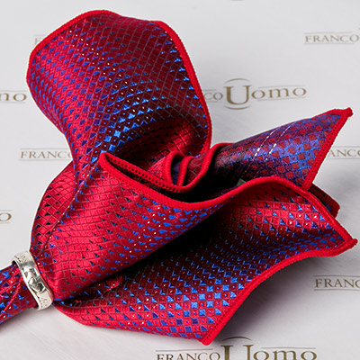 Luxury Woven Silk Blue and Red Gradient Pocket Square - Franco Uomo
