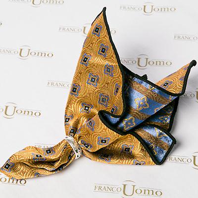 Luxury Silk Woven Gold Pocket Square - Franco Uomo
