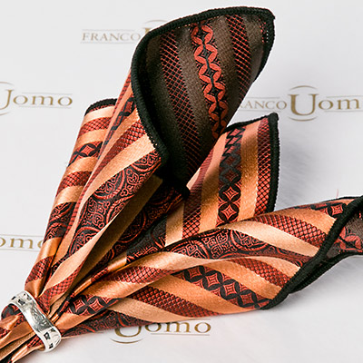 Luxury Silk Auburn Woven Pattern Pocket Square - Franco Uomo