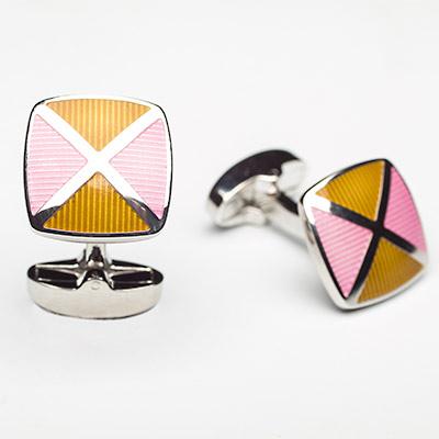 Luxury Alloy Orange and Pink Striped Argyle Cufflinks - Franco Uomo