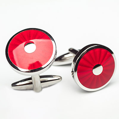 Luxury Alloy Round Red Iris Cufflinks, Franco Uomo