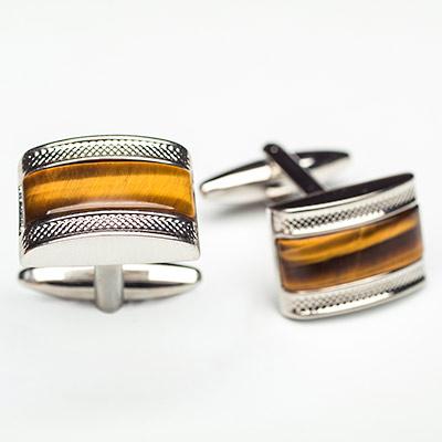 Luxury Steel Alloy Rectangle Cufflinks with Amber Wood - Franco Uomo